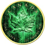 Canada CRYPTO DIGITAL RAIN CANADIAN MAPLE LEAF $5 Dollars Silver Coin 2019 Gold plated 1 oz